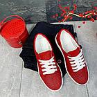 Женские кеды кожаные летние красные Yuves 591 Red Перфорация, фото 5