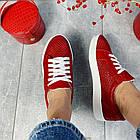 Женские кеды кожаные летние красные Yuves 591 Red Перфорация, фото 6