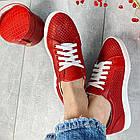 Женские кеды кожаные летние красные Yuves 591 Red Перфорация, фото 7