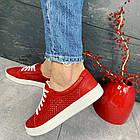 Женские кеды кожаные летние красные Yuves 591 Red Перфорация, фото 9