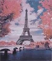 Алмазная мозаика выкладка стразами + Картина живопись по номерам на холсте Эйфелева башня 40*50 см 2 в 1