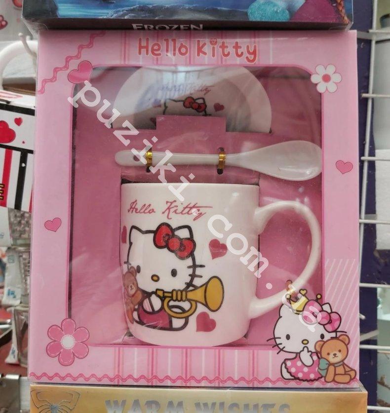 Подарочная керамическая чашка с крышкой для детей Hello Kitty