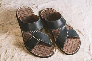 Мужские шлепанцы кожаные летние черные Bonis Original 27