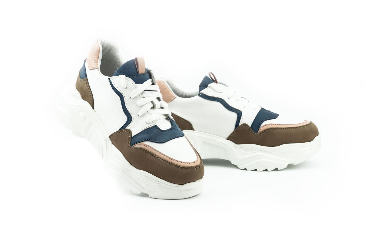 Женские кроссовки кожаные весна/осень белые ANRI-de-colo 662/114-б