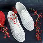 Женские кроссовки кожаные летние белые Yuves 593 Casual, фото 9