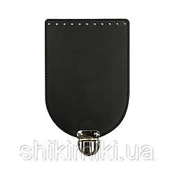 Клапан для сумки из натуральной кожи (20*14), цвет черный