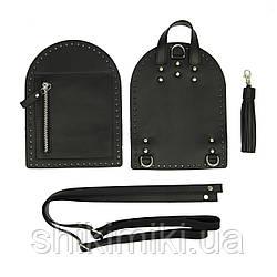 Рюкзачный комплект Zip з натуральної шкіри, колір чорний, матовий