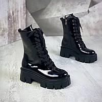 Женские кожаные лаковые демисезонные ботинки на тракторной подошве 36-40 р чёрный