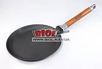 Чугунная блинная сковородка 22 см со съемной ручкой БИОЛ 04221. Сковорода чугунная блинная
