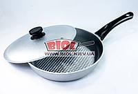 Сковорода алюминиевая 26см рифленое дно, пластиковая ручка, крышка БИОЛ А261