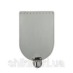 Клапан для сумки из натуральной кожи (20*14), цвет серый