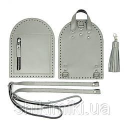 Рюкзачный комплект Zip з натуральної шкіри, колір сірий