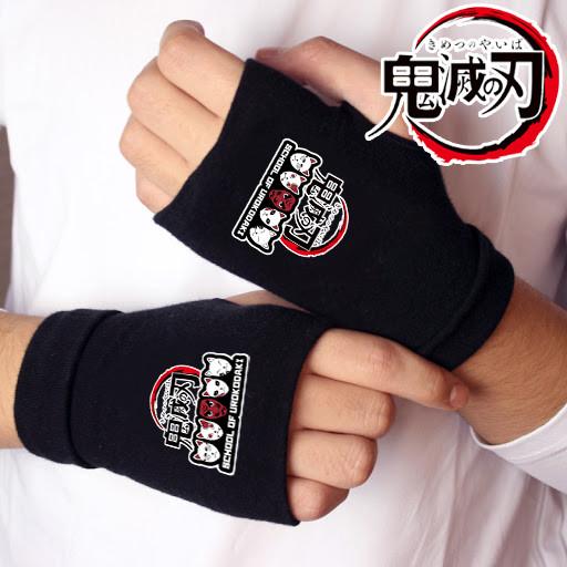 "Митенки перчатки без пальцев Клинок, рассекающий демонов ""School of Urokodaki"" / Kimetsu no Yaiba"