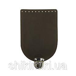 Клапан для сумки из натуральной кожи (20*14), цвет коричневый матовый