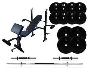 Штанга и гантели на 52 кг со скамей для дома Neo-Sport с прямой штангой