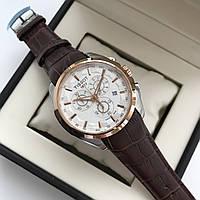 Кварцевые часы Tissot Couturier Quartz AAA мужские наручные с хронографом на кожаном ремешке и календарем