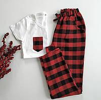 Женская пижама со штанами в красную клетку