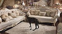 Комплект мягкой мебели бароко Мария, белый ,с раскладными диванами