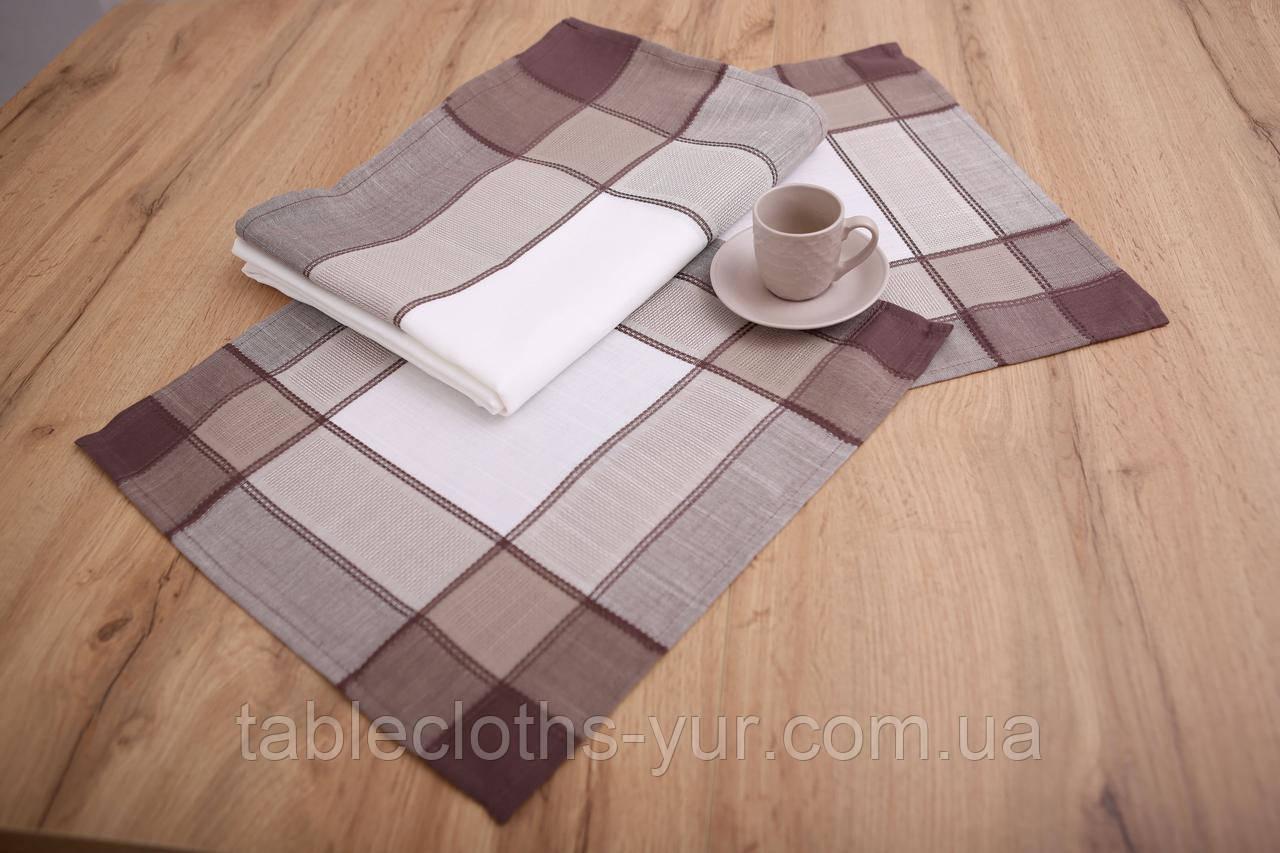 Салфетки сервировочные Лен Квадратные 40-40 Белые с коричневыми краями