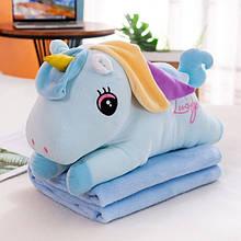 ✅ Плед іграшка подушка 3в1 блакитний єдиноріг Іграшка дитячий плед Іграшки-Подушки М'яка іграшка 150х120