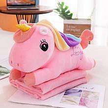 ✅ Плед іграшка подушка 3в1 рожевий єдиноріг Іграшка дитячий плед Іграшки-Подушки М'яка іграшка 150х120