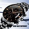 Часы оригинальные мужские наручные кварцевые Megalith 0105M Black-Cuprum / стальной ремешок, фото 3