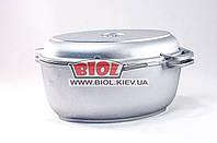 Гусятница (утятница) алюминиевая 2,5л с утолщенным дном и крышкой-сковородкой БИОЛ Г301