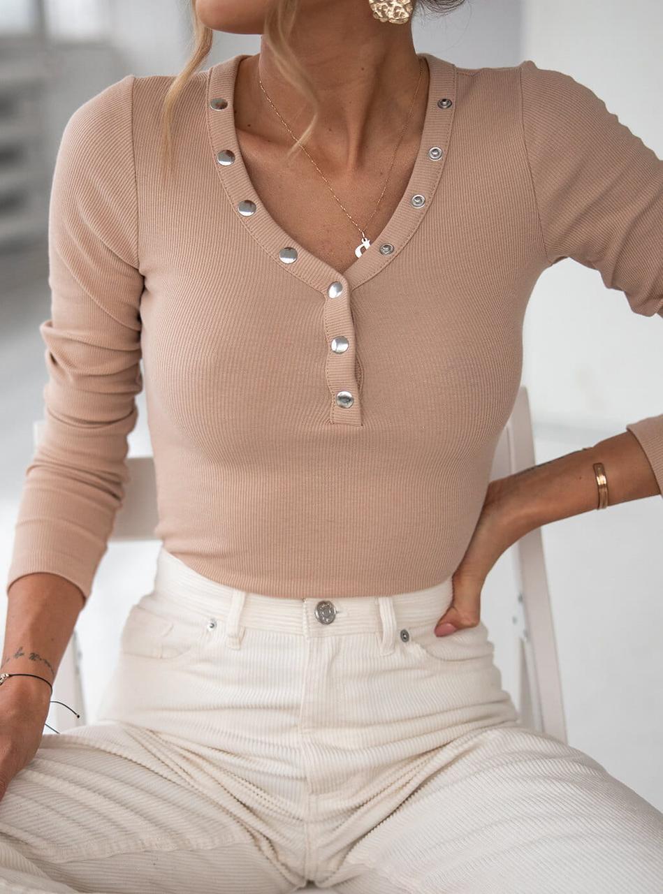 Стильный женский джемпер на кнопках 42-48 (в расцветках)
