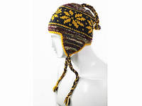 Теплая вязанная шапка Орнамент с кисточками и ушками в ассортименте Ручная вязка