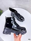 Женские ботинки ДЕМИ черные на шнуровке эко лак, фото 3