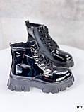 Женские ботинки ДЕМИ черные на шнуровке эко лак, фото 2