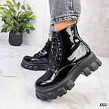 Женские ботинки ДЕМИ черные на шнуровке эко лак, фото 4