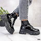 Женские ботинки ДЕМИ черные на шнуровке эко лак, фото 9