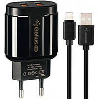 Мережевий Зарядний Пристрій Gelius Pro 2USB 2.4 A + Cable iPhone X