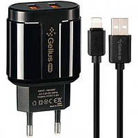 Сетевое Зарядное Устройство Gelius Pro  2USB 2.4A + Cable iPhone X