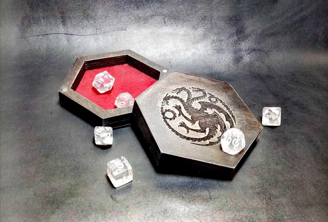 Лоток для гри в кістки dnd / Дерев'яна коробка в сільському вінтажному стилі / RPG Dice box