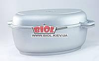 Гусятница (утятница) алюминиевая 6л с утолщенным дном и крышкой-сковородкой БИОЛ G601