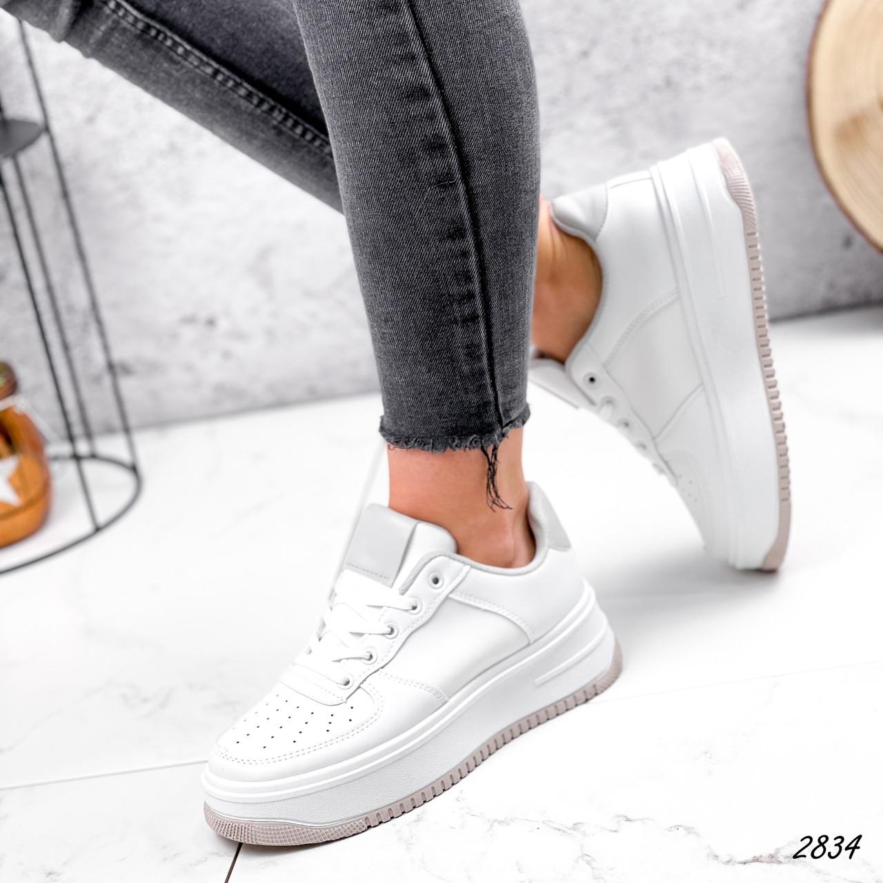 Женские белые кроссовки, экокожа