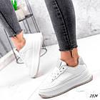 Женские белые кроссовки, экокожа, фото 4