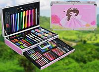 Огромный детский набор для рисования с красками EcoTBH на 122 предмета в чемоданчике (Розовый)