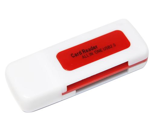 Кардридер универсальный 4в1 MERLION CRD-4BL TF/Micro SD, USB2.0, Red, OEM, фото 2