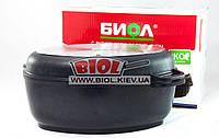 Гусятница (утятница) алюминиевая 6л с антипригарным покрытием, утолщенным дном, крышкой-сковородой Биол G601P, фото 1