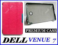 Розовый кожаный premium чехол-книжка  для планшета Dell Venue 7, фото 1