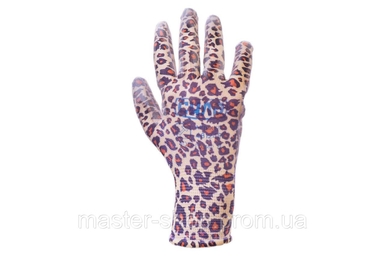 """Перчатки Сила - с латексным покрытием 8"""" леопард 12 шт."""