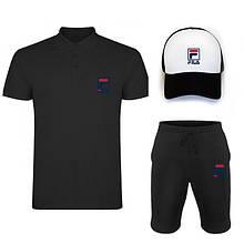 Комплект тройка кепка шорты и поло Фила, для мужчин