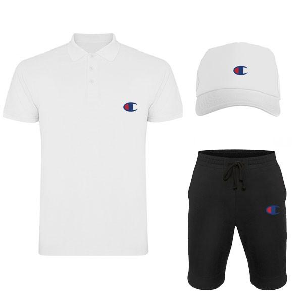 Комплект тройка кепка шорты и поло Чемпион, для мужчин