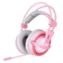 Навушники Sades A6 7.1 Virtual Surround Sound Gray Pink