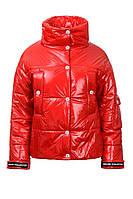 Демисезонная курточка для девочки красная (3 цв.) плащевка монклер тинсулейт 150 на кнопках