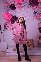 Демисезонное пальто для девочки пудра с декоративной вышевкой кашемир на кнопках