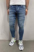 Модные молодежные мужские джинсы зауженные рваные синие 6238-3428